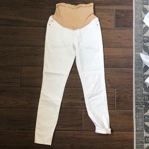Denim - White maternity jeans.